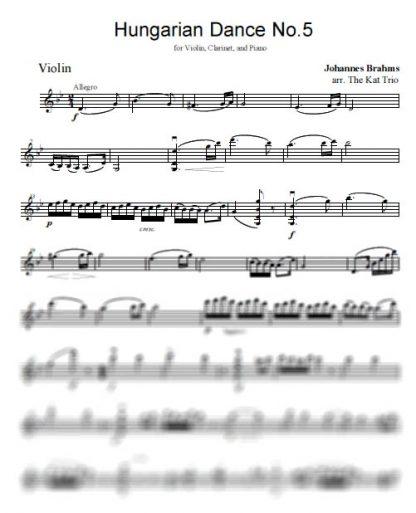 Brahms Hungarian Dance No.5 Violin Part