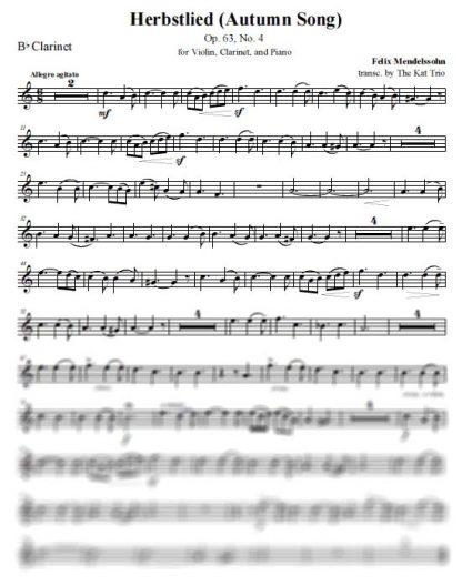 Mendelssohn Herbstlied Clarinet