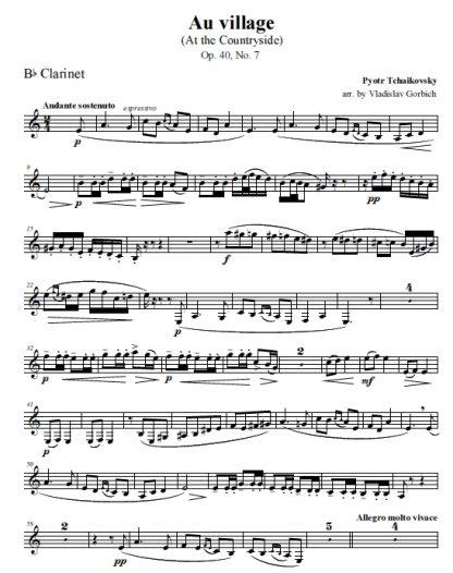 Tchaikovsky Au Village - Clarinet
