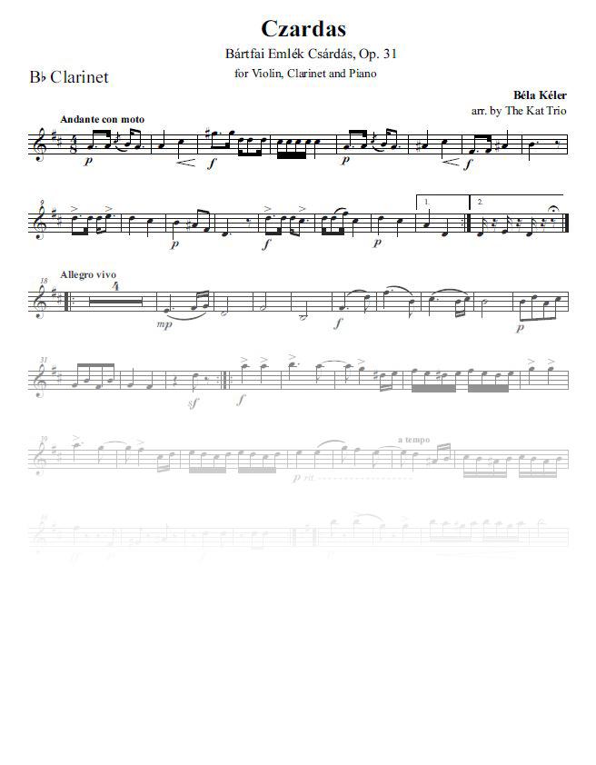 Keler Czardas clarinet